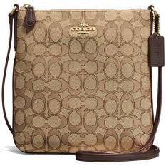 Best Offer Coach North South Crossbody In Outline Signature Jacquard Handbag Gold Khaki Brown F58421 Gift Receipt