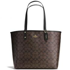 Review Coach Reversible City Tote In Signature Handbag Black Brown Gold F36658 Coach