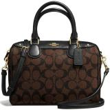 Low Price Coach Signature Mini Bennett Satchel Crossbody Bag Handbag Black Brown F58312