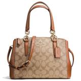 Best Coach Signature Mini Christie Carryall Crossbody Shoulder Bag Handbag Khaki Saddle F36718