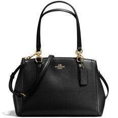 Discount Coach Small Christie Carryall In Crossgrain Leather Handbag Gold Black F57520 Coach