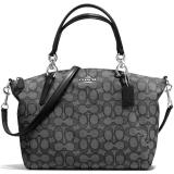Buy Coach Small Kelsey Satchel In Outline Signature Handbag Silver Black Smoke Black F58283 Coach Cheap