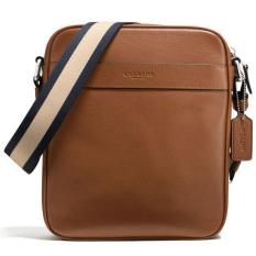Coach Men Smooth Leather Charles Flight Bag Crossbody Bag Men Dark Saddle Brown F54782 Lower Price