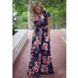 Cocoepps 2017 Women Maxi Vintage Elegant Dresses Summer New Style O Neck Floral Printed Flower Party Long Dress Intl Discount Code