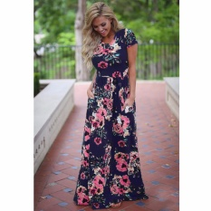 Price Comparison For Cocoepps 2017 Women Maxi Vintage Elegant Dresses Summer New Style O Neck Floral Printed Flower Party Long Dress Intl