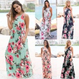 Cocoepps 2017 Women Maxi Vintage Elegant Dresses Summer New Style Sleeveless O Neck Floral Printed Flower Party Long Dress Intl Price