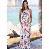 Cocoepps 2017 Women Maxi Vintage Elegant Dresses Summer New Style Sleeveless O Neck Floral Printed Flower Party Long Dress Intl Best Price