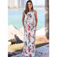 Price Cocoepps 2017 Women Maxi Vintage Elegant Dresses Summer New Style Sleeveless O Neck Floral Printed Flower Party Long Dress Intl Online China