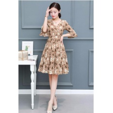 Cocoepps Vintage Floral Printed Women Dress Korean Partysu Printed Dress Chic Elegant S*xy Fashion V Neck A Line Dresses Intl Deal
