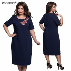 Review Cocoepps Women Plus Size Summer Dress 2017 Ladies Elegant O Neck Short Sleeve Embroidery Patch Dresses L 6Xl Intl On China