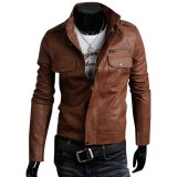 Buy Cocotina Cool Men S Pu Leather Jacket Biker Motorcycle Outwear Coat Brown Cocotina Cheap
