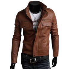 Cocotina Cool Men S Pu Leather Jacket Biker Motorcycle Outwear Coat Brown For Sale Online
