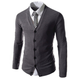 Discount Cocotina Fashion Mens Slim Fit V Neck Knitwear Pullover Cardigan Solid Long Sleeve Sweater Jacket Coat Tops Dark Grey Cocotina China