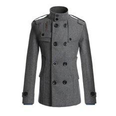 New Cocotina Men Double Breasted Coat Peacoat Winter Jacket Overcoat Grey