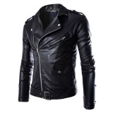 Top Rated Cocotina Men Slim Fit Pu Leather Biker Overcoat Jacket Motorcycle Coat Black