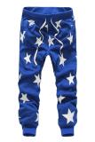 Cocotina Men Star Print Hip Hop Dance Sweat Pants Casual Harem Jogger Baggy Trousers Slacks Blue Cocotina Discount