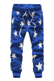 Retail Price Cocotina Men Star Print Hip Hop Dance Sweat Pants Casual Harem Jogger Baggy Trousers Slacks Blue