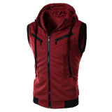 Brand New Cocotina Men S Fashion Casual Sleeveless Slim Fit Hooded Hoodies Vest Waistcoat Wine Red Intl