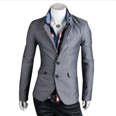 Compare Price Cocotina Solid Color Men S Slim Fit Two Button Business Casual Blazer Jacket Suit Coat Grey On China