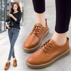 Purchase College Style Student Thick Bottomed Round Platform Shoes Women S Shoes Brown Online