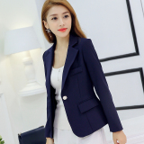 Sale Calan Diana Women S Korean Style Slim Fit Long Sleeve Blazer Navy Blue China