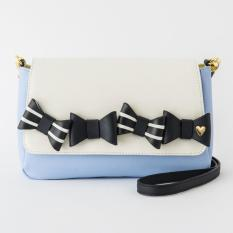 Colors By Jennifer Sky X Alice In The Wonderland Bow Crosshatched Faux Leather Satchel Crossbody Bag Light Blue On Singapore