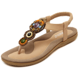 Cheapest Comfortable Crystal Massage Beach Sandals Sole Beige Beige