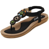Comfortable Crystal Massage Beach Sandals Sole Black Black Cheap