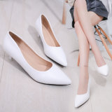 Discount Comfortable Pointed Semi High Heeled Career Pumps Women S Shoes White Admirezzii China