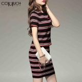 Deals For Comuch Thailand Skirts Suits Spring Summer Stripe Ol Female Sleeve Slim Modern Short Skirt 2Pcs Suit) Intl