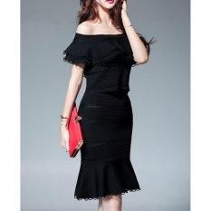 Lowest Price Comuch Women Black Off Shoulder Skirts Suit Ol Summer Elegant Lotus Leaf Knitting Skirt 2Pcs Suit) Intl