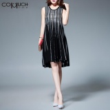 Sale Comuch Women Goddess Dresses Elegant A Line Slim Cover Stomach Hidden Meat Thin Dress Black Intl On Singapore