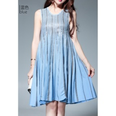 Buy Comuch Women Goddess Dresses Elegant A Line Slim Cover Stomach Hidden Meat Thin Dress Sky Blue Intl