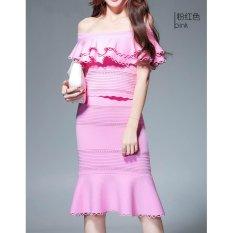 Coupon Comuch Women Pink Off Shoulder Skirts Suit Party Night Ol Elegant Lotus Leaf Knitting Skirt 2Pcs Suit) Intl