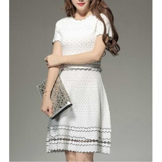 Buy Comuch Women Summer Dress Ol Korean Fashion A Line Slim Tight Ice Silk Knitting Basic Dresses White Intl Online