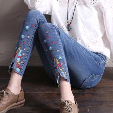 Latest Women S Korean Style Embroidered Denim Pants Light Blue Light Blue