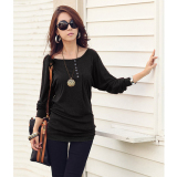 Cotton Blend Women Long Sleeve T Shirt Black Sale