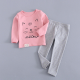 Where To Shop For Cotton Girls Autumn Baby Pajamas Children S Heattech Pink Cat Models