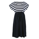 Brand New Cotton Loose Striped Maternity Dresses Black