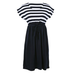 Discount Cotton Loose Striped Maternity Dresses Black Vakind On Singapore