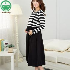 Cheap Cotton Maternity Dress Striped Full Sleeve Dress Breast Feeding Dresses Nursing Clothes Pregnant Women Maternity Clothes Bb118 Intl