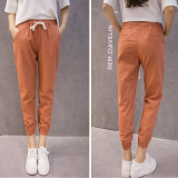 Women S Korean Style Cotton And Linen Harem Pants Rust Red Rust Red Compare Prices