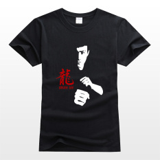 Retail Cotton Printed Jeet Kune Do Double Day Stick Round Neck T Shirt Black