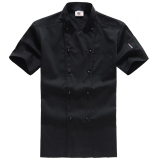 Cotton Short Sleeved Summer Thin Section Summer Work Clothes Chef Clothing Black Short Sleeved On China