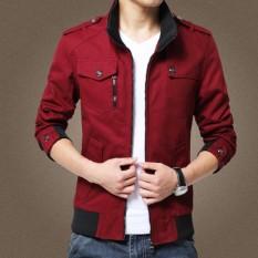 Retail Cotton Spring Autumn Winter New Pattern Men S Coat Man Pockets Zipers Solid Color Red Khaki Green Black Men Jacket Intl