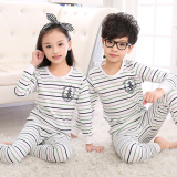 Discounted Striped Cotton Boys Girls Pajamas Cotton Jersey Children Long Johns Jt Underwear Striped Light Gray Jt Underwear Striped Light Gray