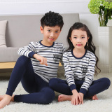 Compare Price Striped Cotton Boys Girls Pajamas Cotton Jersey Children Long Johns Jt Underwear Two Tone Striped Jt Underwear Two Tone Striped Oem On China