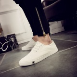 Buy Couple S Korean Style White Flat Students Sneakers Canvas Shoes White China