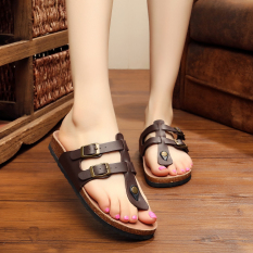 Couple S Versitile Fashion Leather Outerwear Slippers Cork Slippers Man Coffee Double On Line