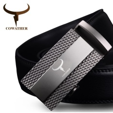 For Sale Cowather 100 Cow Genuine Leather Ratchet Belt For Men 2017 New Design Automatic Alloy Buckle Male Strap Casual Cowhide Waistband Belt Silver S Xxl
